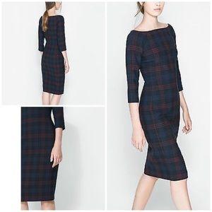 Zara Fitted Check Midi Dress